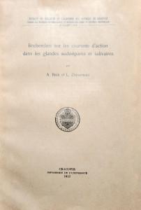Beck A. Recherches sur les courants d'action dans les glandes sudoripares et salivaires