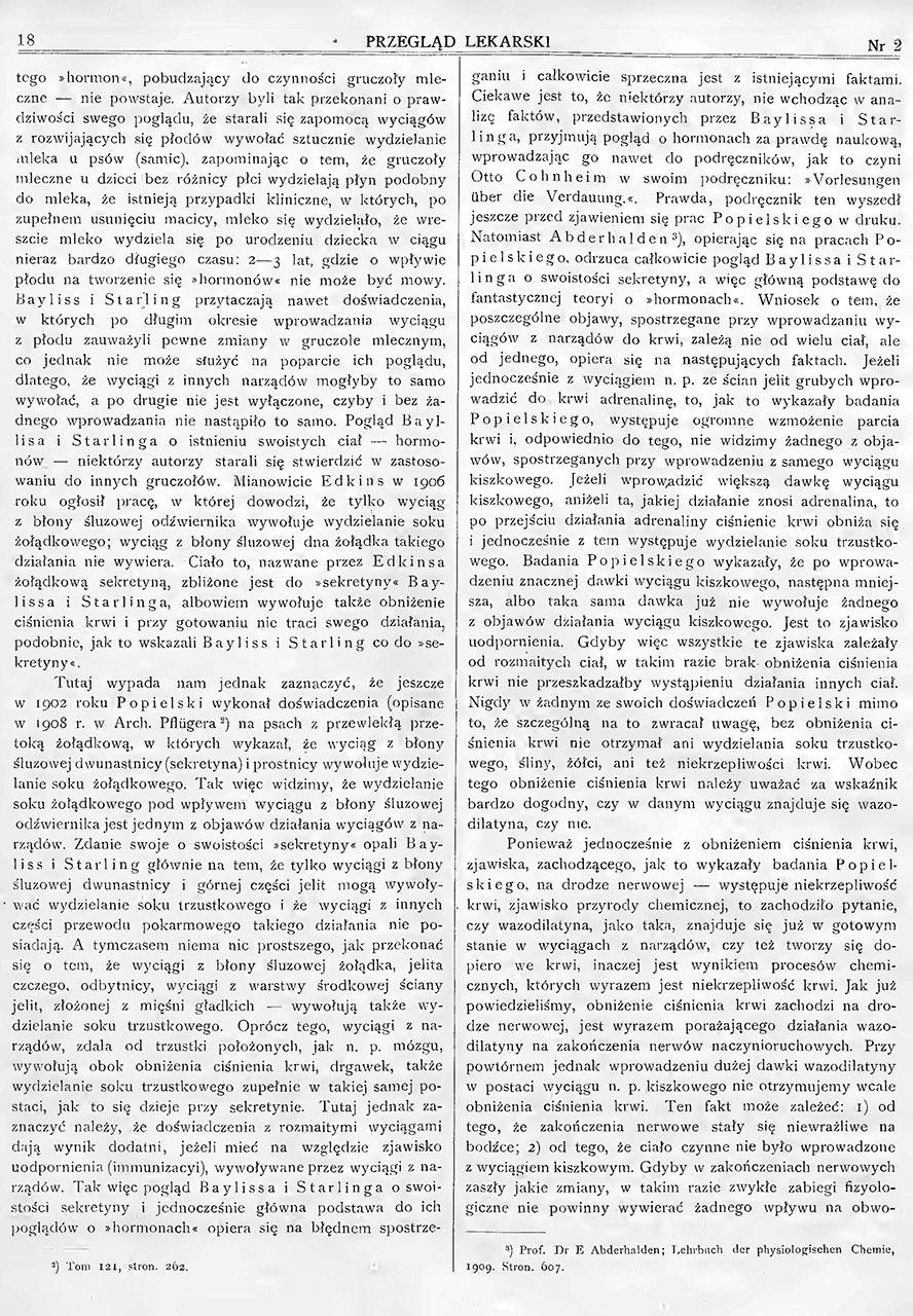 O fizyologicznych i chemicznych własnościach wazodilatyny, czynnego ciałą narządów prawidłowego ustroju. St. 2
