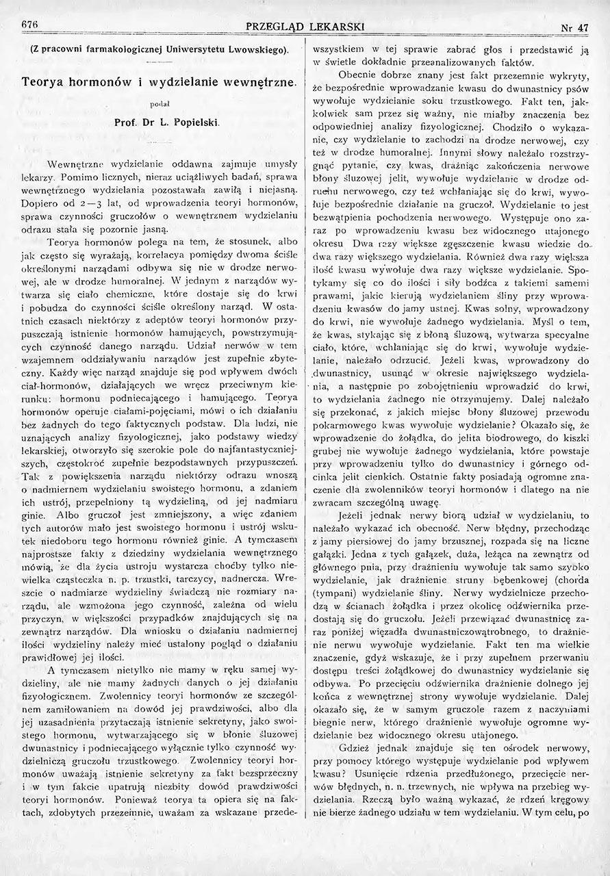 Teorja hormonów i wydzielanie wewnętrzne. St. 1