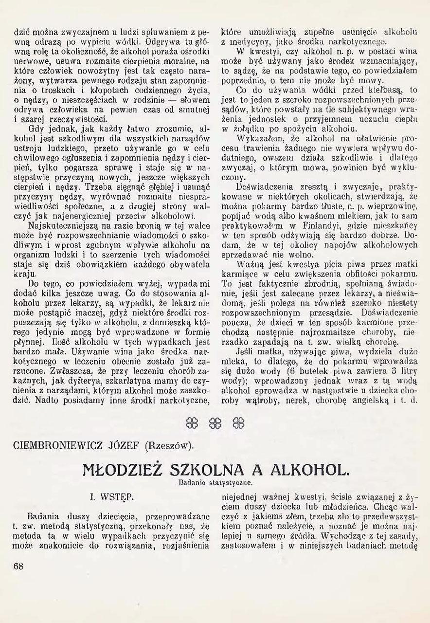 O wpływie t. zw. umiarkowanego używania alkoholu na ustrój. St. 4