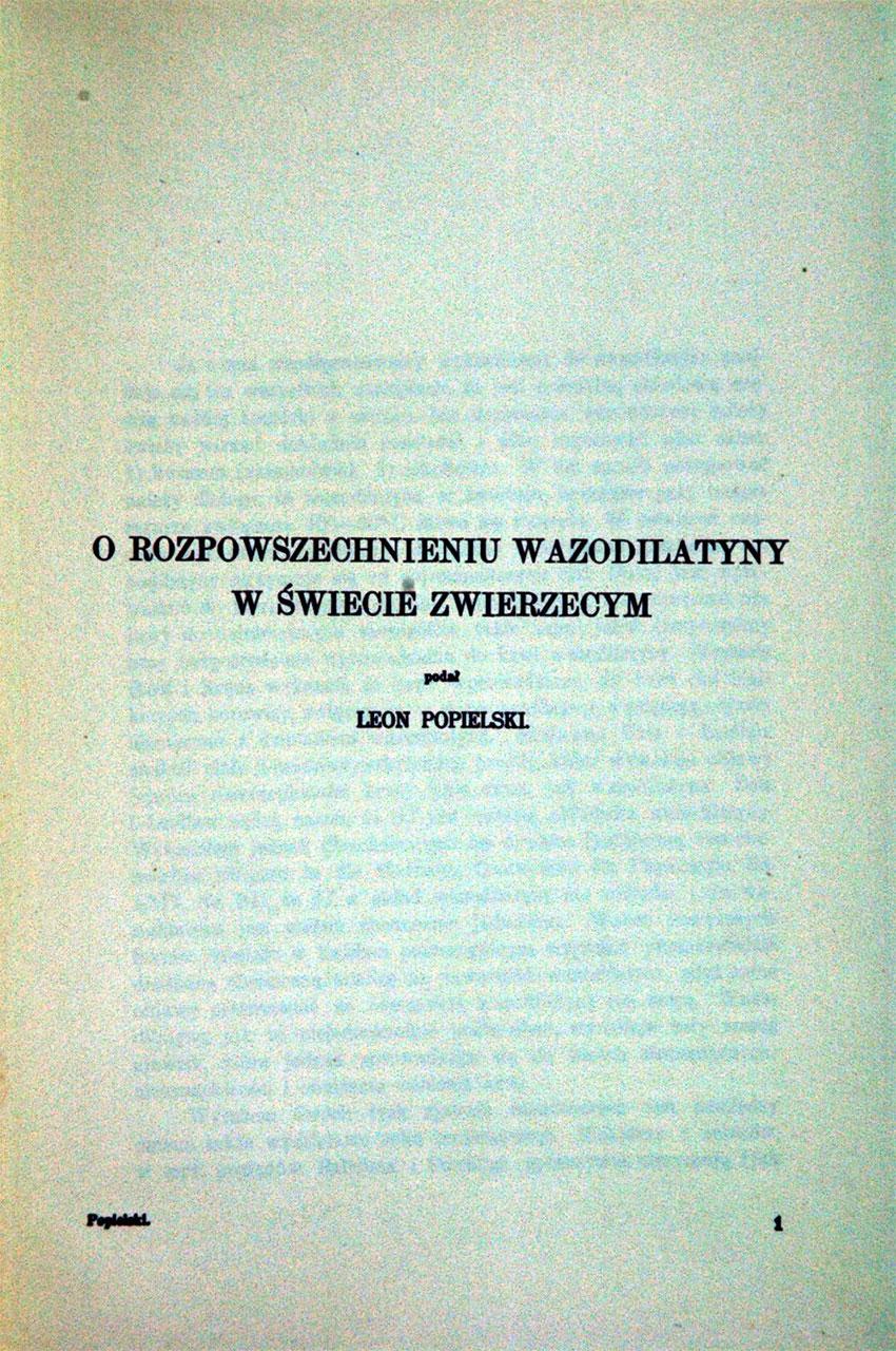 O rozpowszechnieniu wasodilatyny w świecie zwierzęcym. St.1