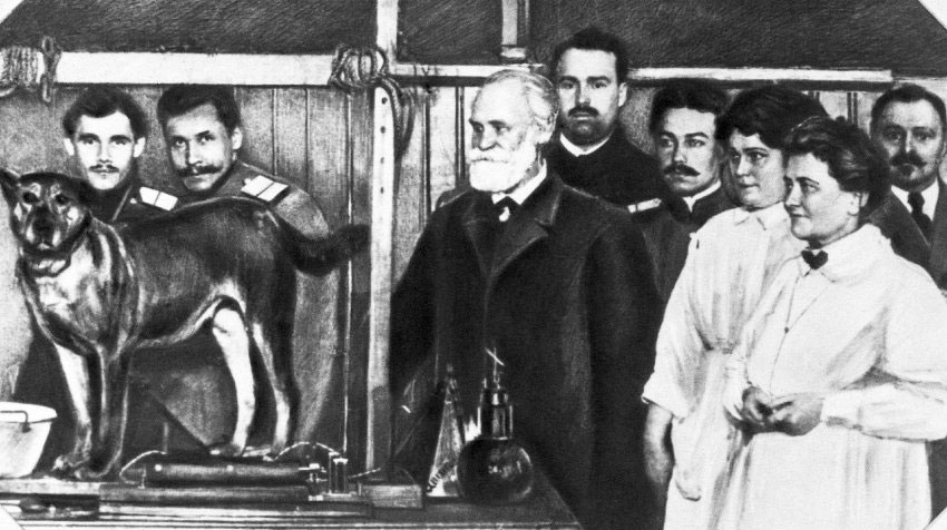 Fig.1 Leon Popielski (second from left) during his work in St Petersburg.