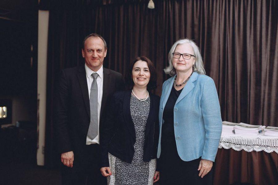 На святкуванні 20-річного ювілею Австрійського бюро кооперації (зліва направо) Андреас Веннінгер, Марта Надрага, Герміне Поппеллер